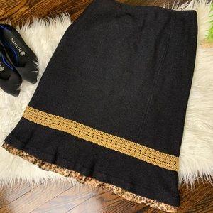 {St. John Couture} Black Sparkle Pleated Skirt